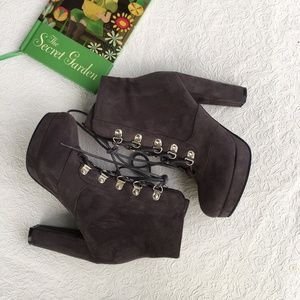 Grey Suede Lace up Booties NWOB Size 6